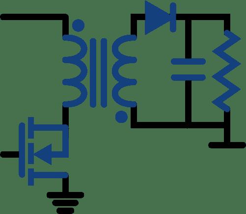 imagen de electronica industrial/potencia y circuitos de conmutacion mostrando una fuente de voltaje de topologia flyback - campos de la electronica