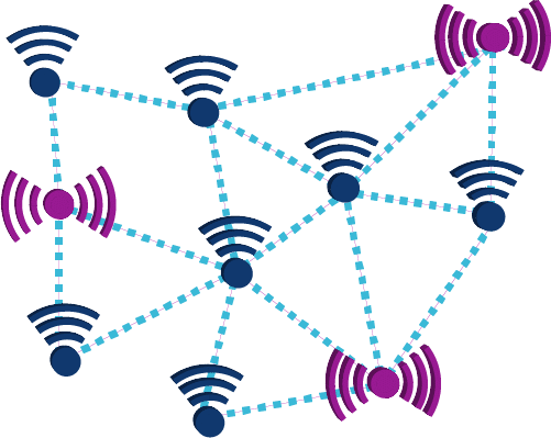 wireless sensor networks showing nodes and routers - electronics fields