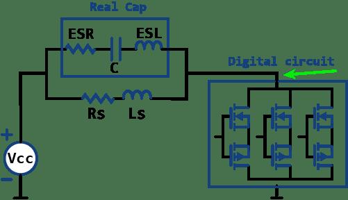 circuito equivalente thevenin y su efecto en disminuir la impendancia de la fuente de alimentación al utilizar n condensadores en paralelo